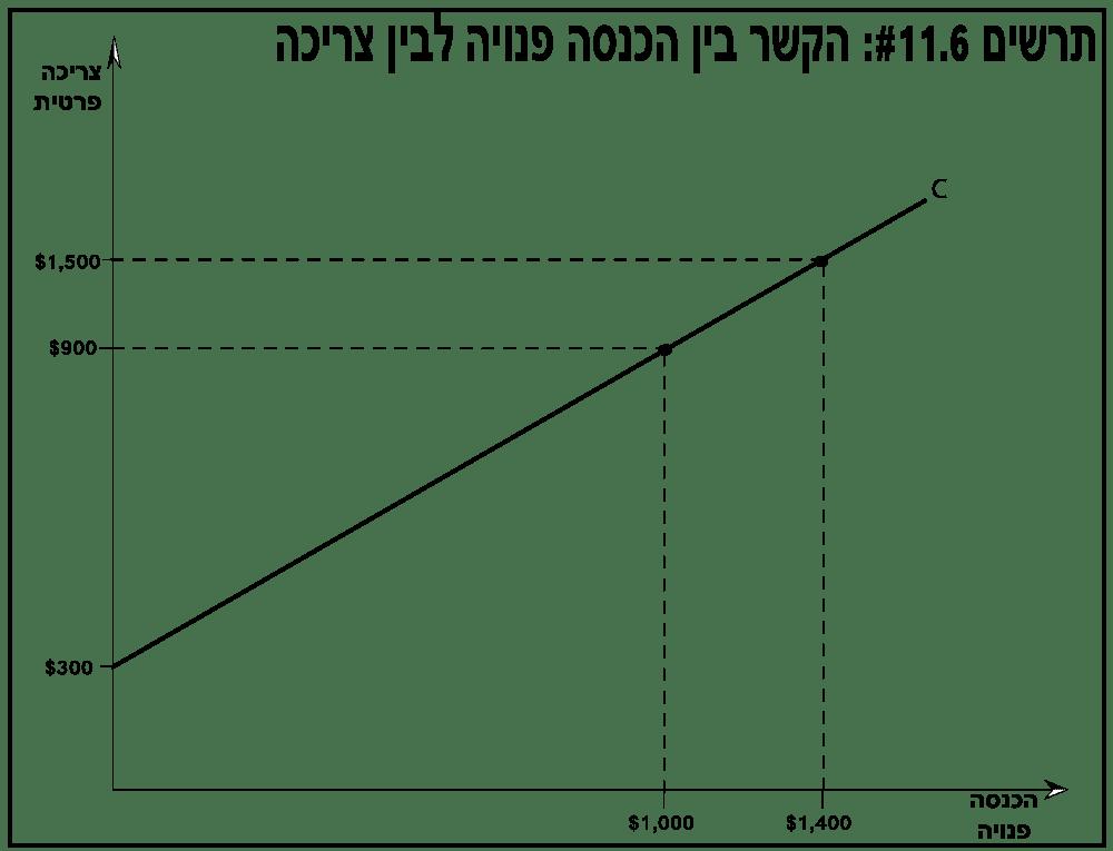 הקשר בין הכנסה פנויה לבין צריכה