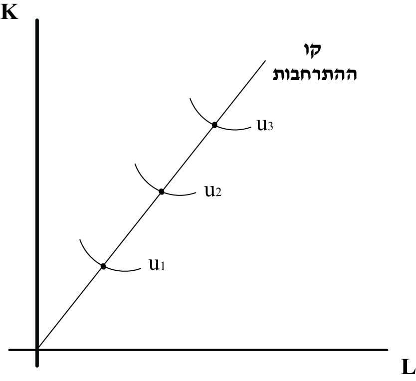 תרשים 7 – קו ההתרחבות בפונקציית קוב דאגלס